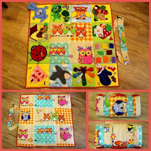 Развивающие игрушки ручной работы. Ярмарка Мастеров - ручная работа. Купить Развивающий коврик. Handmade. Комбинированный, развивающий коврик, липучки