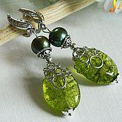 Украшения handmade. Livemaster - original item silver earrings with peridot (chrysolite) and freshwater pearls.. Handmade.