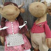 Куклы и игрушки ручной работы. Ярмарка Мастеров - ручная работа Коровка и бычок, интерьерные игрушки. Handmade.