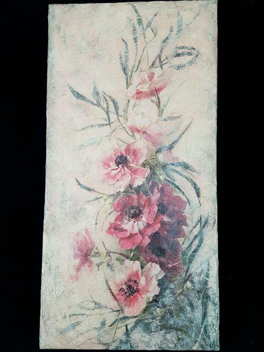 Картины цветов ручной работы. Ярмарка Мастеров - ручная работа. Купить Картина ,,Анемоны,. Handmade. Бежевый, розовые анемоны, картины