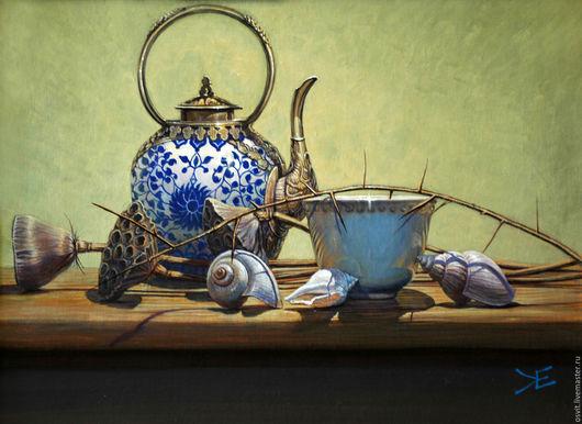 Натюрморт ручной работы. Ярмарка Мастеров - ручная работа. Купить Лотосовый чай. Handmade. Натюрморт, лотос, акриловые краски