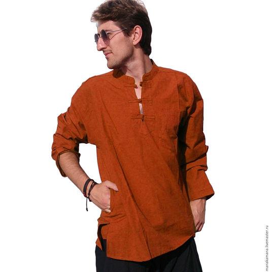 Для мужчин, ручной работы. Ярмарка Мастеров - ручная работа. Купить Рубашка оранж на пуговицах из тесьмы. Handmade. Однотонный, фестиваль