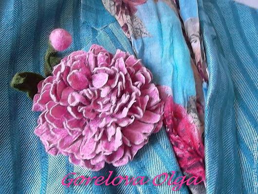 """Броши ручной работы. Ярмарка Мастеров - ручная работа. Купить валяная брошь """"Розовый пион"""". Handmade. Бледно-розовый"""