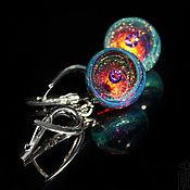 Украшения handmade. Livemaster - original item Earring balls Glitter. Turquoise, purple, gold. Space. Crystal. Handmade.
