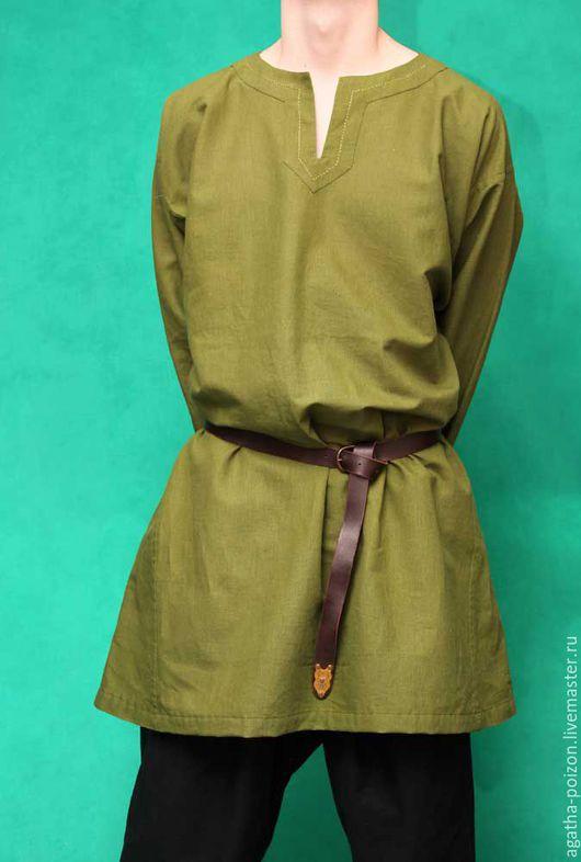 """Для мужчин, ручной работы. Ярмарка Мастеров - ручная работа. Купить Рубаха льняная """"Травка"""". Handmade. Зеленый, реконструкция"""