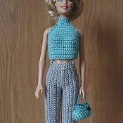 Куклы и игрушки ручной работы. Ярмарка Мастеров - ручная работа Серые прямые брюки с высоким поясом. Handmade.