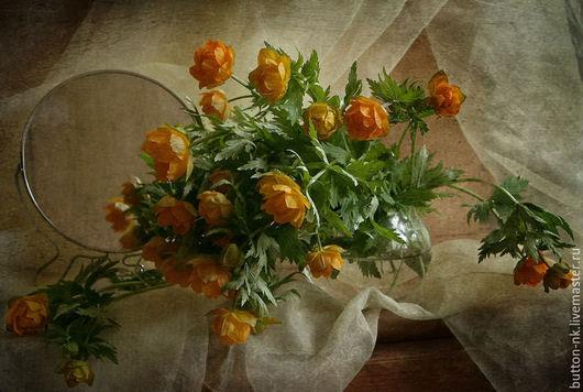 Фотокартины ручной работы. Ярмарка Мастеров - ручная работа. Купить Натюрморт Букет купавок. Handmade. Оранжевый, бежевый, цветы, букет