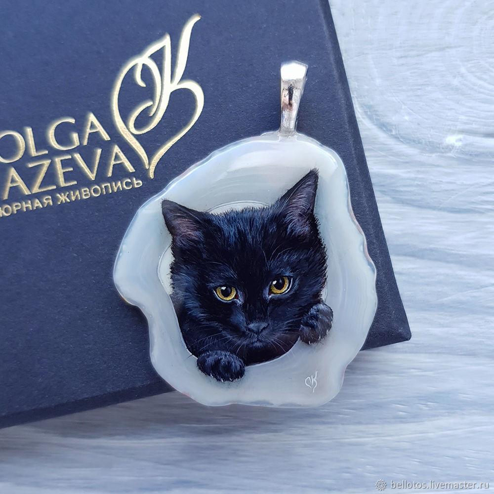 Портрет котенка по фото - живопись на камне, Подвески, Москва, Фото №1