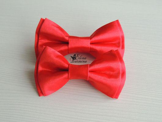 Галстуки, бабочки ручной работы. Ярмарка Мастеров - ручная работа. Купить Бабочка галстук папа+сын красные, атлас. Handmade.