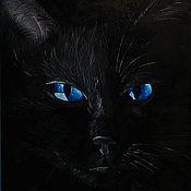 Картины и панно ручной работы. Ярмарка Мастеров - ручная работа Картина маслом Черный кот. Handmade.