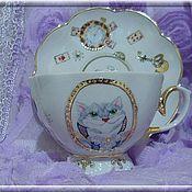 """Посуда ручной работы. Ярмарка Мастеров - ручная работа Чайная пара """"Кот и кролик"""". Handmade."""