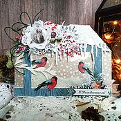 Открытки handmade. Livemaster - original item Sold!Card Feed the birds in winter. Merry Christmas. for the New year. Handmade.
