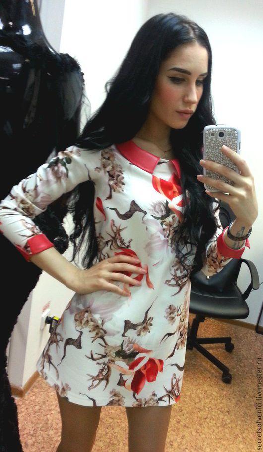 """Платья ручной работы. Ярмарка Мастеров - ручная работа. Купить """"Магнолия"""". Handmade. Комбинированный, стильное платье, кожзаменитель"""