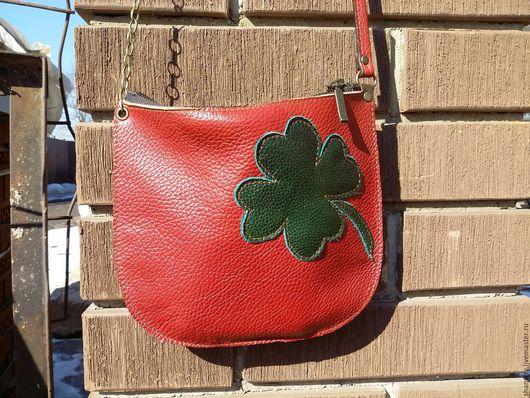 """Женские сумки ручной работы. Ярмарка Мастеров - ручная работа. Купить """"С клевером"""" сумка 21 на 20см из кожи. Handmade."""