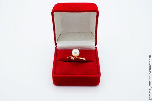 Кольца ручной работы. Ярмарка Мастеров - ручная работа. Купить Золотое кольцо Нежность. Handmade. Кольцо с жемчугом, Бриллиант