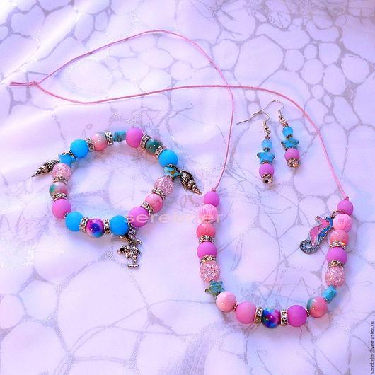 Комплект украшений ` Разноцветное ощущение моря` браслет, серьги и бусы в одном стиле. Комплект продан. Возможно сделать на заказ.Размер браслета и длина бус выбирается заказчиком.