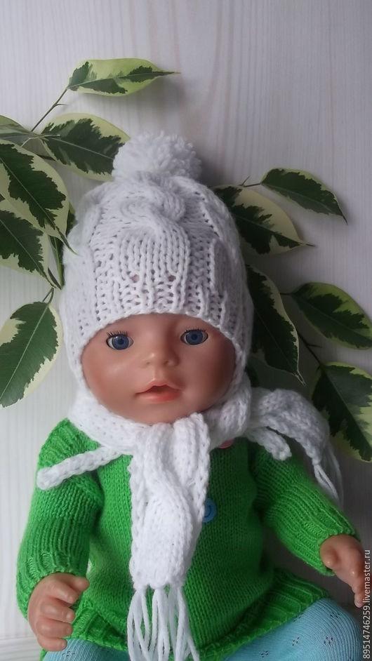 Одежда для кукол ручной работы. Ярмарка Мастеров - ручная работа. Купить Шапочка и шарфик для Бебика. Handmade. Белый