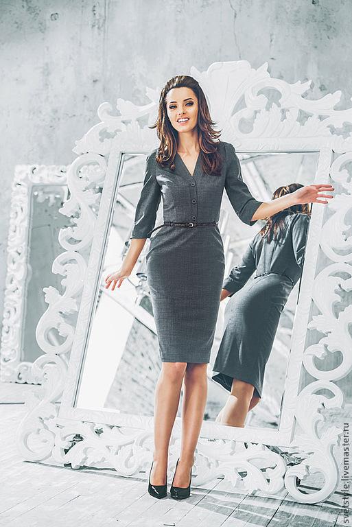 Элегантное платье из итальянской шерсти. Ярмарка Мастеров - ручная работа. Купить платье. Офисное платье. Дизайнер Лана Морозова