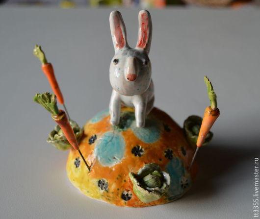 Элементы интерьера ручной работы. Ярмарка Мастеров - ручная работа. Купить зайчик в моркови и капусте. Handmade. Желтый, капуста, handmade