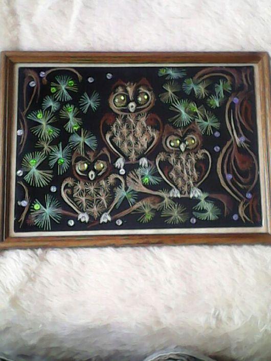 """Животные ручной работы. Ярмарка Мастеров - ручная работа. Купить Картина """"Мудрость веков"""". Handmade. Изонить, картина в подарок, совы"""