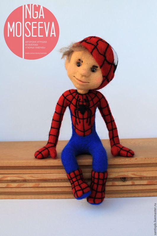 Человечки ручной работы. Ярмарка Мастеров - ручная работа. Купить Человек Паук, кукла войлочная. Handmade. Комбинированный, человек паук