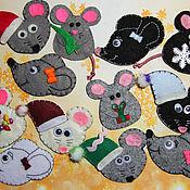 Магниты ручной работы. Ярмарка Мастеров - ручная работа Магниты на холодильник мышки из фетра. Handmade.