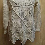 Одежда ручной работы. Ярмарка Мастеров - ручная работа Белый свитер вязаный спицами. Handmade.