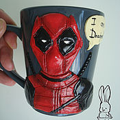 Подарки к праздникам handmade. Livemaster - original item Mug with figure of Deadpooll. Handmade.