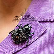 Украшения handmade. Livemaster - original item Beetle. Beaded embroidery. Applique/brooch. Handmade.