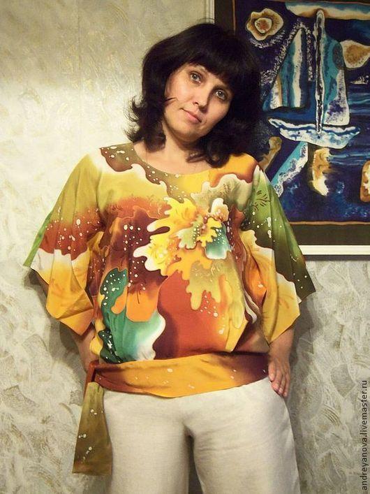 """Блузки ручной работы. Ярмарка Мастеров - ручная работа. Купить Блуза-батик """" Мимоза"""". Handmade. Рыжий, нарядная блуза"""