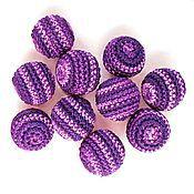 Бусины ручной работы. Ярмарка Мастеров - ручная работа Набор из 10 бусин, цв. розово-фиолетовый. Handmade.