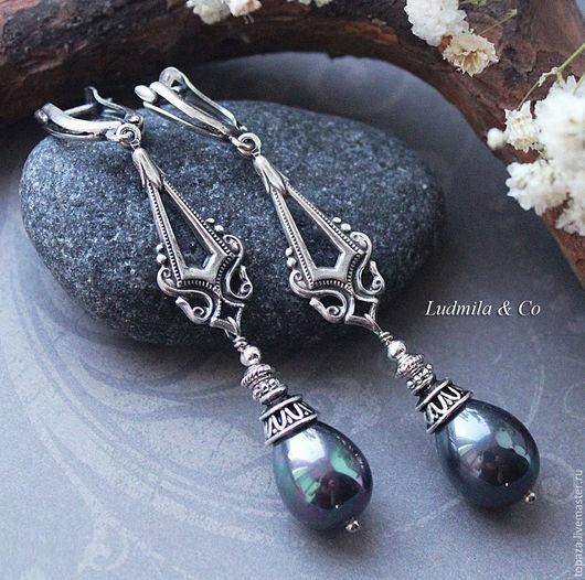 Длинные серьги с чёрным жемчугом Майорка в форме капли, винтажные, стильные. Лучший подарок к 8 марта.