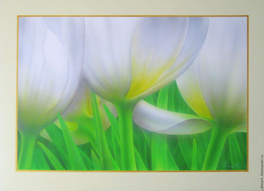 """Картины цветов ручной работы. Ярмарка Мастеров - ручная работа. Купить """"Белые тюльпаны"""". Handmade. Цветы, тюльпаны, бутон, пвх"""