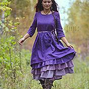 Одежда ручной работы. Ярмарка Мастеров - ручная работа Многослойное платье из льна «Лавандовое». Handmade.