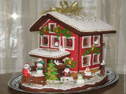 Кулинарные сувениры ручной работы. Ярмарка Мастеров - ручная работа. Купить Новогодний пряничный дом-шкатулка. Handmade. Ярко-красный