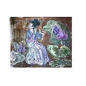 Картины и панно ручной работы. Ярмарка Мастеров - ручная работа Японская монотипия. Handmade.
