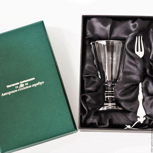 """Подарки для мужчин, ручной работы. Ярмарка Мастеров - ручная работа. Купить """"ГРАНЕНЫЙ-25"""" набор ЭГОИСТ (граненый лафитник + вилка закусочная). Handmade."""