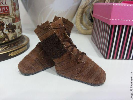 """Одежда для кукол ручной работы. Ярмарка Мастеров - ручная работа. Купить Высокие ботиночки """"Полоски"""" для Тильды. Handmade. Коричневый, тильда"""