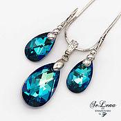 Украшения handmade. Livemaster - original item Silver earrings and pendant with Swarovski crystals Swarovski Kit. Handmade.