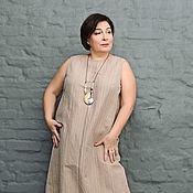 Одежда handmade. Livemaster - original item SALE 50% tunic Dress striped brown linen. Art. 0493. Handmade.