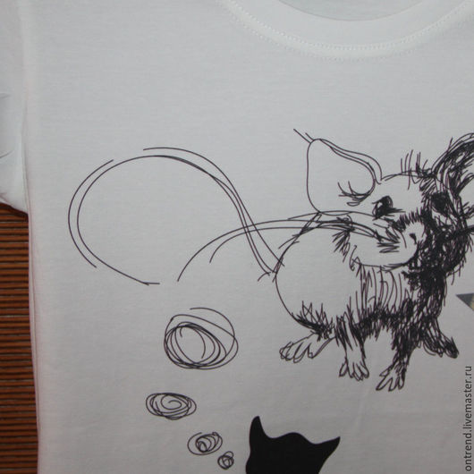 """Футболки, майки ручной работы. Ярмарка Мастеров - ручная работа. Купить Женская футболка """"Кошки-Мышки"""" (273). Handmade. Белый"""