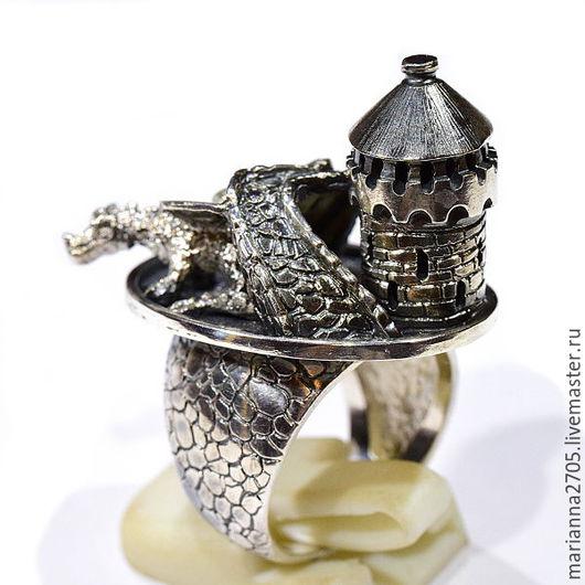 """Кольца ручной работы. Ярмарка Мастеров - ручная работа. Купить """"Дракон, живущий под мостом""""кольцо в стиле ФЭНТЕЗИ с мостом и драконом. Handmade."""