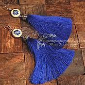Украшения handmade. Livemaster - original item Embroidered earrings-tassels Summer day. Handmade.