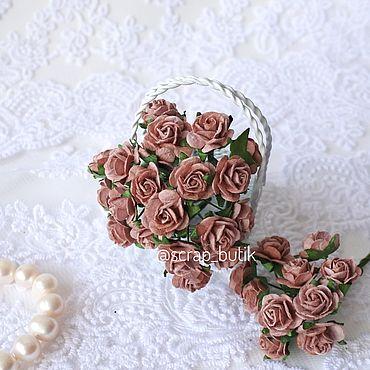 Цветы и флористика ручной работы. Ярмарка Мастеров - ручная работа Бумажные розы 1,5 см Пудровые темно-розовые Цветы для скрапбукинга. Handmade.