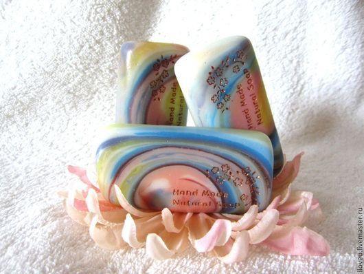 """Мыло ручной работы. Ярмарка Мастеров - ручная работа. Купить Мыло """"Рассвет"""", нежный, голубой, розовый, подарки на 8 марта, подарок. Handmade."""