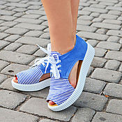 Обувь ручной работы. Ярмарка Мастеров - ручная работа женские кеды морячка. Handmade.