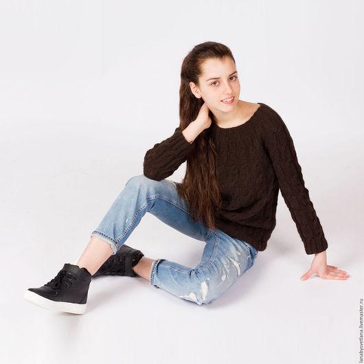 Кофты и свитера ручной работы. Ярмарка Мастеров - ручная работа. Купить Бесшовный свитер с косами из 100% пуха яка. Handmade.