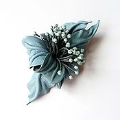 Украшения handmade. Livemaster - original item Brooch flower leather Fresh Wind blue celestial with stamens. Handmade.