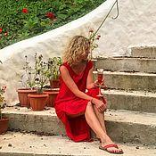 Платья ручной работы. Ярмарка Мастеров - ручная работа Красное платье с разрезами.. Handmade.
