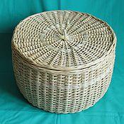 Для дома и интерьера ручной работы. Ярмарка Мастеров - ручная работа Плетеная  круглая  коробка с крышкой для хранения овощей. Handmade.